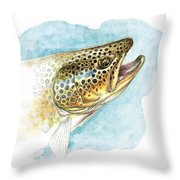 Brown Trout Study Throw Pillow