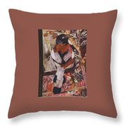 Brown- White Bird Throw Pillow