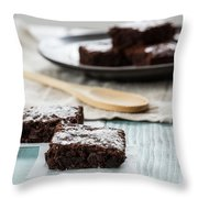 Brownies With A Wood Spoon Kitchen Art Throw Pillow