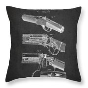 Browning Rifle Patent Drawing From 1921 - Dark Throw Pillow