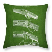 Browning Rifle Patent Drawing From 1921 - Green Throw Pillow