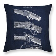 Browning Rifle Patent Drawing From 1921 - Navy Blue Throw Pillow