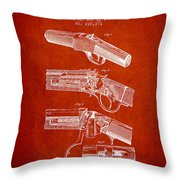 Browning Rifle Patent Drawing From 1921 - Red Throw Pillow