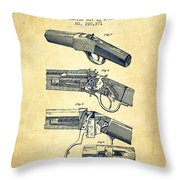 Browning Rifle Patent Drawing From 1921 - Vintage Throw Pillow