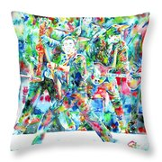 Bruce Springsteen And The E Street Band - Watercolor Portrait Throw Pillow by Fabrizio Cassetta