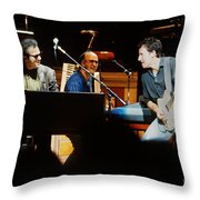 Bruce Springsteen Billy Joel And Paul Schaffer Throw Pillow