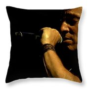 Bruce Springsteen Performing The River At Glastonbury In 2009 - 3 Throw Pillow