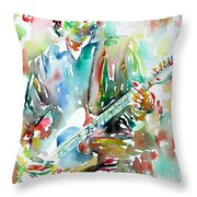 Bruce Springsteen Playing The Guitar Watercolor Portrait.3 Throw Pillow by Fabrizio Cassetta