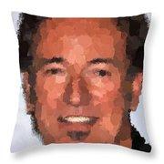 Bruce Springsteen Portrait Throw Pillow