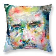 Bruce Springsteen Watercolor Portrait.1 Throw Pillow by Fabrizio Cassetta
