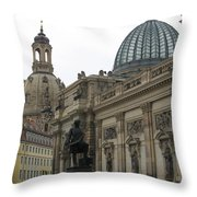 Bruehlsche Terrace - Church Of Our Lady - Dresden - Germany Throw Pillow