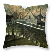 Bruges Canal Bridge Throw Pillow