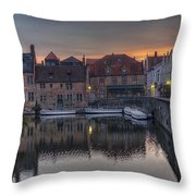 Bruges Canal Dawn Throw Pillow