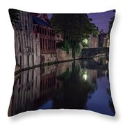 Bruges Canal Near Blind Donkey Alley  Throw Pillow