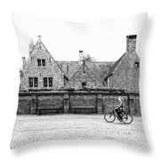 Bruges Cyclist Throw Pillow