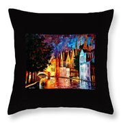 Bruges - Northern Venice Throw Pillow by Leonid Afremov