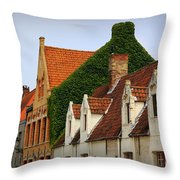 Bruges Rooftops Throw Pillow