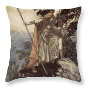 Brunnhilde From The Rhinegold And The Valkyrie Throw Pillow by Arthur Rackham