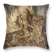 Brunnhilde On Grane Leaps Throw Pillow