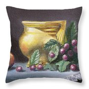 Brushed Gold Vase Throw Pillow