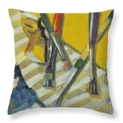 Brushes And Paints For Artists Palette Throw Pillow