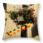 Brussels Belgium - Flowers Flags Football Throw Pillow