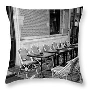 Brussels Cafe In Black And White Throw Pillow