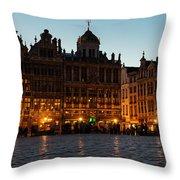 Brussels - Grand Place Facades Golden Glow Throw Pillow