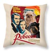 Brussels Griffon Art - Rebecca Movie Poster Throw Pillow