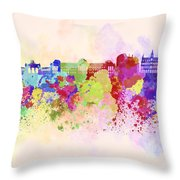 Brussels Skyline In Watercolor Background Throw Pillow