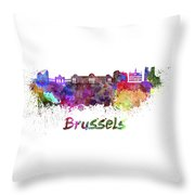 Brussels Skyline In Watercolor Throw Pillow