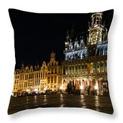 Brussels - The Magnificent Grand Place At Night Throw Pillow