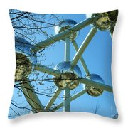 Brussels Urban Blue Throw Pillow by Ramona Matei