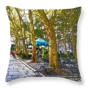 Bryant Park October Throw Pillow by Liz Leyden