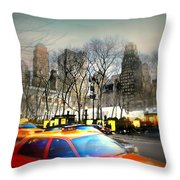 Bryant Park Taxi Throw Pillow by Diana Angstadt