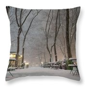 Bryant Park - Winter Snow Wonderland - Throw Pillow
