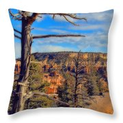 Bryce Canyon Cliff Tree Throw Pillow