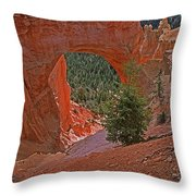 Bryce Canyon Natural Bridge And Tree Throw Pillow