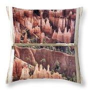 Bryce Canyon Utah View Through A White Rustic Window Frame Throw Pillow