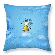 Bubble Folks Throw Pillow