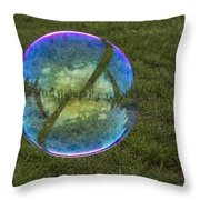 Bubble On Grass With St.johns Bridge Throw Pillow