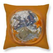 Bubble Out Of Orange Orb Throw Pillow