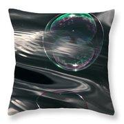 Bubble Over Black Waters Throw Pillow