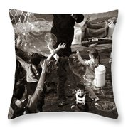Bubbles And Kids - Central Park Sunday Throw Pillow