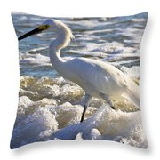 Bubbles Around Snowy Egret Throw Pillow