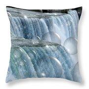 Bubbles Over Niagara Falls Throw Pillow