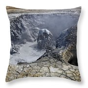 Bubbling Mud Pool At Hverir In Iceland Throw Pillow