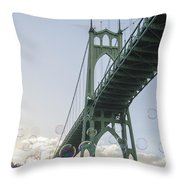 Bubbly St.johns Bridge Throw Pillow