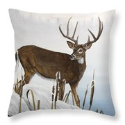 Buck At Waters Edge Throw Pillow