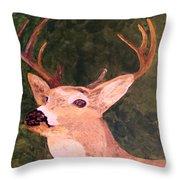 Buck Portrait Throw Pillow